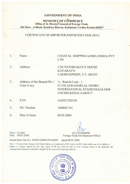 Costal Shipping Links Import and Export Certificate