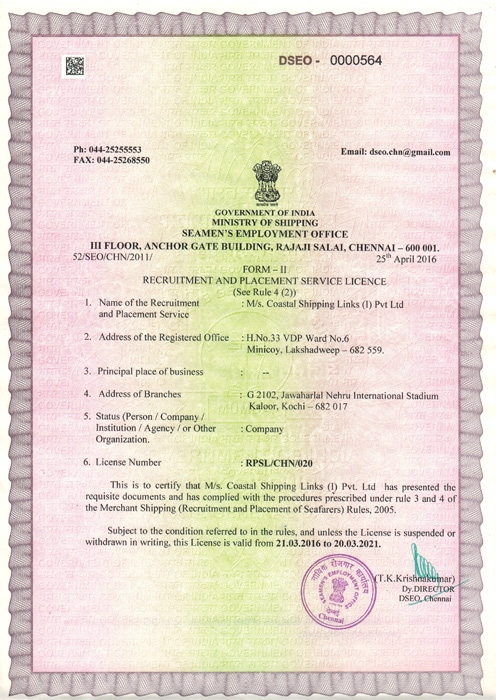 Costal Shipping Links Recruitment and Placement Service License Certificate