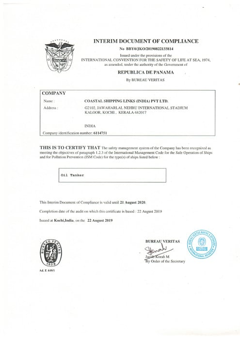 Costal Shipping Links Technical Management License Certificate